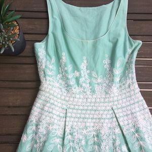 Mint Max Studio Embroidered Cotton Dress | Small